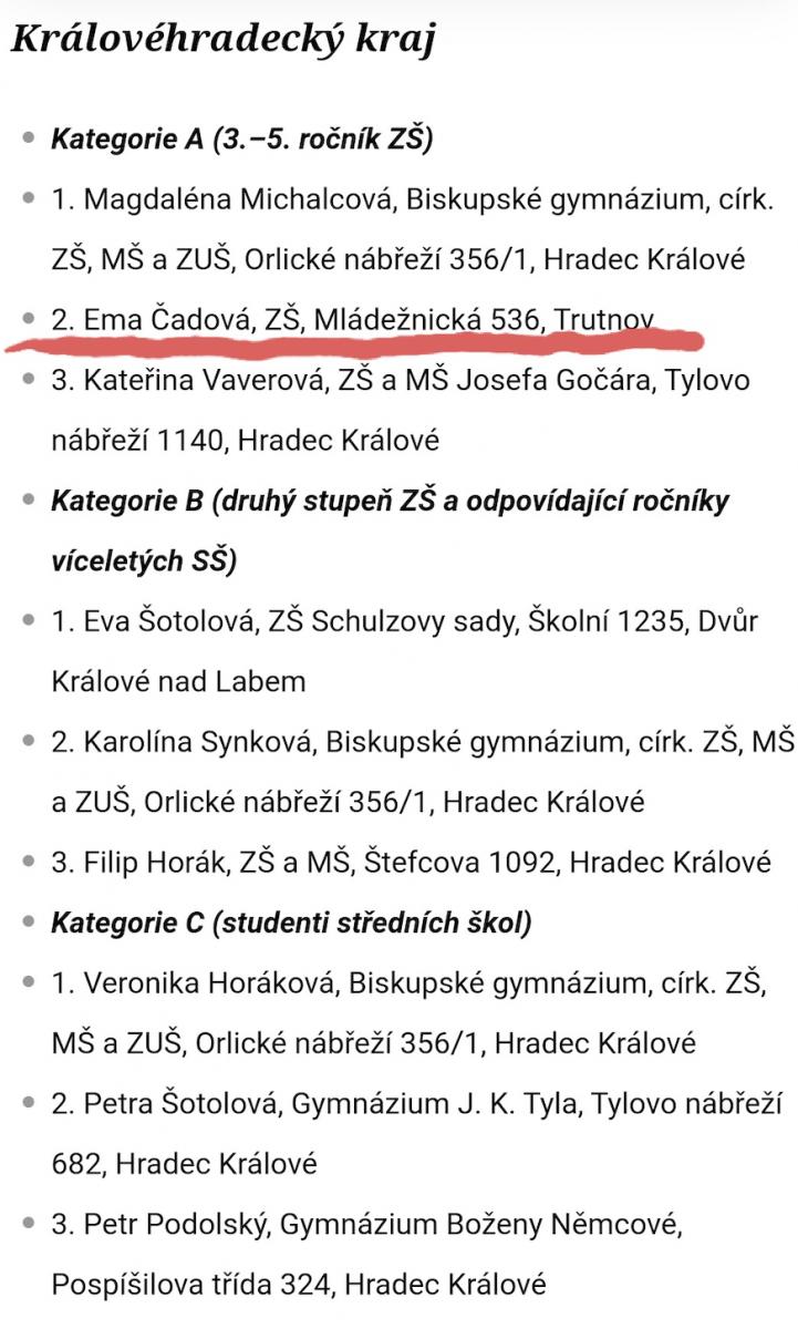 Pořadí žáků Logické olympiády Královehradecký kraj, kategorie A, B, C